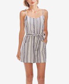 Vince Camuto Dobby Stripe Belted Romper