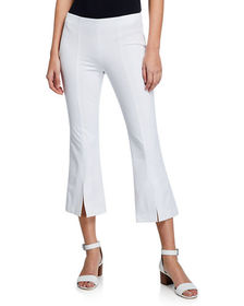 Neiman Marcus Cropped Slit-Cuff Pants