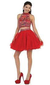 May Queen - Floral Halter A-line Cocktail Dress