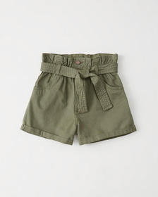 Belted Twill Shorts, OLIVE GREEN