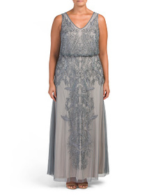 ADRIANNA PAPELL Plus V-neck All Over Beaded Gown