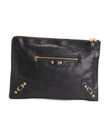 reveal designer Made In Italy Large Leather Pouch