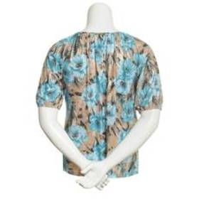 Cathy Daniels 3/4 Sleeve Round Neck Floral Blouse