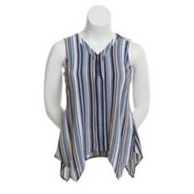 NY Collection Sleeveless Zip Front Stripe Tank Top