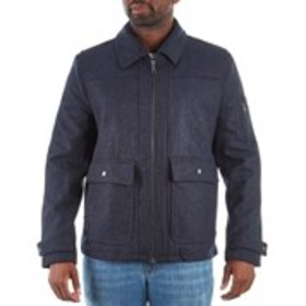 Mens Wool-Blend Coat With Faux Leather Trim