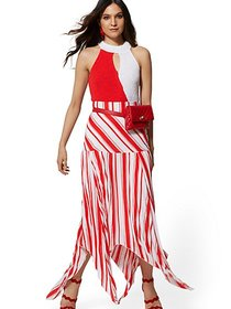 Tall Stripe Pleated Handkerchief-Hem Skirt - New Y