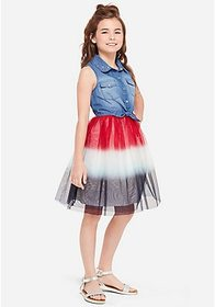 Justice Red, White & Blue Denim Tutu 2fer Girls Dr