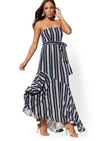 Petite Blue Stripe Strapless Maxi Dress - New York