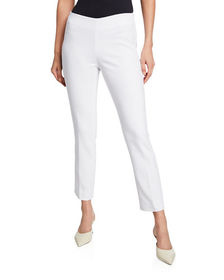 Neiman Marcus Lisa Mid-Rise Straight-Leg Cropped P