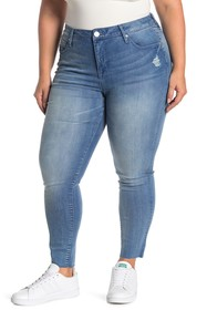 Seven7 Mid Rise Ankle Skinny Jeans (Plus Size)