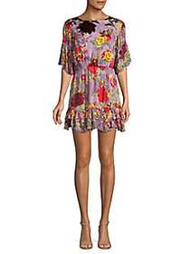 Alice + Olivia Katrina Floral Ruffle Dress RED