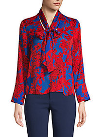 Alice + Olivia Botanical-Print Tie-Neck Top RED