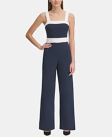 Tommy Hilfiger Square-Neck Colorblocked Jumpsuit