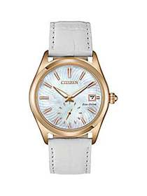Citizen Corso Rose-Goldtone White Leather Strap Wa