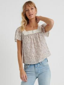 Lucky Brand Floral Square Neck Top
