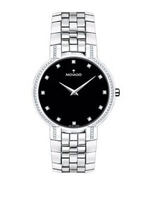 Movado Faceto Stainless Steel Watch SILVER