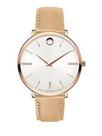 Movado Ultra Slim Rose-Goldtone Case & Beige Leath