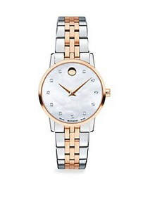 Movado Mother-of-Pearl, Rose-Goldplated, Stainless