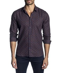 Jared Lang Men's Semi-Fitted Dot Check Long-Sleeve