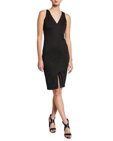 Neiman Marcus Sleeveless Dress w/ Front Slit