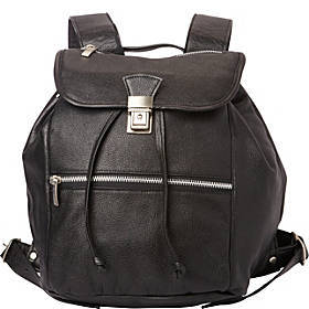 Piel Double Compartment Leather Backpack
