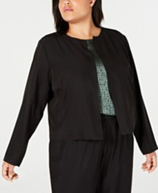 Eileen Fisher Plus Size Open-Front Jacket & Draped