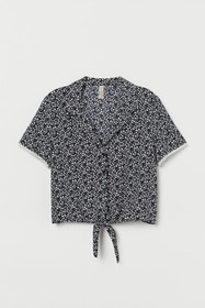 Patterned Tie-hem Blouse