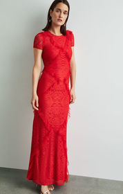 BCBG Abstract Floral Lace Gown