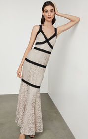 BCBG Sleeveless Banded Lace Gown