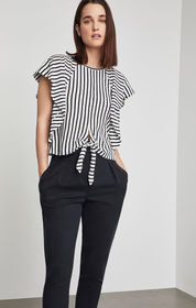 BCBG Striped Tie Front Cropped Top