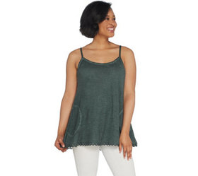 LOGO by Lori Goldstein Distressed Cotton Slub Cami