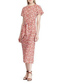 Lauren Ralph Lauren Keyhole Crepe Dress RED