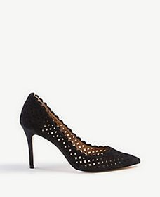 Mila Scalloped Perforated Suede Pumps
