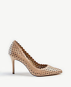 Mila Scalloped Perforated Leather Pumps