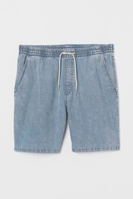 Elasticized Denim Shorts