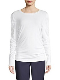 Elie Tahari Ruched Sleeve Top WHITE