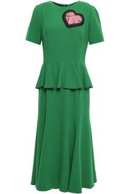 DOLCE & GABBANA Appliquéd crepe peplum midi dress