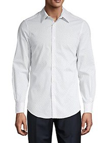 Perry Ellis Printed Button-Front Shirt BRIGHT WHIT