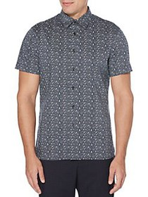 Perry Ellis Linear Floral Stretch Short Sleeve But