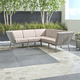 Crate Barrel Morocco Light Grey 5-Piece Sectional