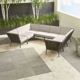 Crate Barrel Morocco Graphite 8-Piece Sectional wi