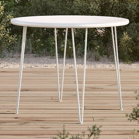 Crate Barrel Scroll White Metal Outdoor Bistro Tab
