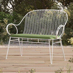 Crate Barrel Scroll White Metal Outdoor Bench with