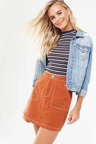 Forever21 Contrast-Stitch Mini Skirt