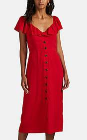 Barneys New York Crepe Button-Front Midi-Dress