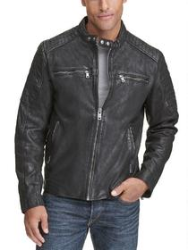 Black Rivet Zander Leather Moto Jacket