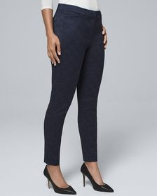 Curvy-Fit Jacquard-Scroll Slim Ankle Pants