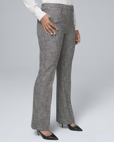 Curvy-Fit Textured Suiting Slim Pants