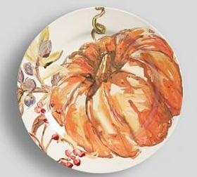 Pottery Barn Harvest Pumpkin Dinner Plate, Set of