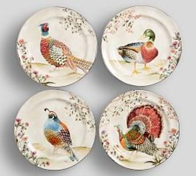 Pottery Barn Botanical Harvest Bird Dinner Plate,